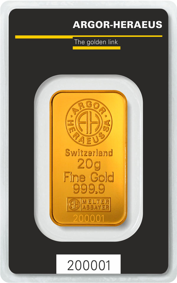 Zlatý slitek 20 g AH